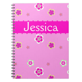 Personalised flowers pattern with name spiral notebook