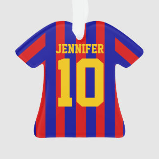 Personalised Football soccer shirt Striped red blu