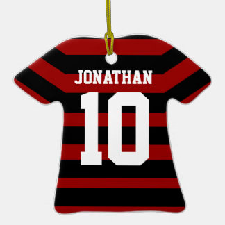 Personalised Football soccer shirt stripes Christmas Ornaments