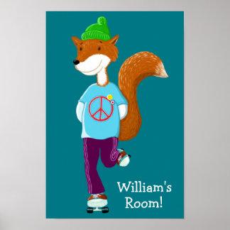 Personalised Fox On Rollerskates Poster