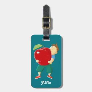Personalised Fun Boy With Apple Kids Luggage Tag