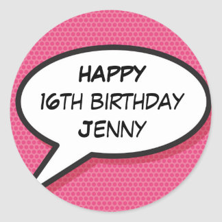 Personalised Girly Pink Comic Book Happy Birthday Classic Round Sticker
