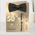 """Personalised Gold 50th Birthday Card For Him<br><div class=""""desc"""">Custom personalised gold themed 50th birthday greeting card idea for him. Great idea for Dad,  husband or boyfriend.</div>"""