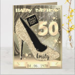 "Personalised Gold 50th Birthday Card Idea For Her<br><div class=""desc"">Custom personalised gold themed 50th birthday greeting card idea for her. Create a 50th birthday card for Mum,  daughter,  wife or girlfriend.</div>"