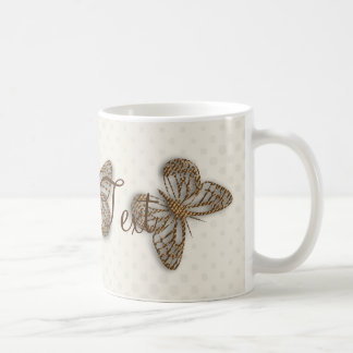 Personalised Golden Butterfly Cream Silk Event Mug
