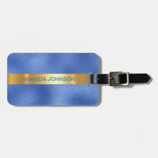 Personalised Golden Cobalt Blue Green Minimalism Luggage Tag