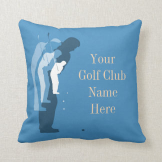 Personalised Golf Clubhouse Blue Throw Pillow