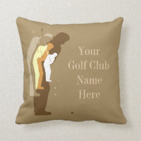 Personalised Golf Clubhouse Gold Throw Pillow