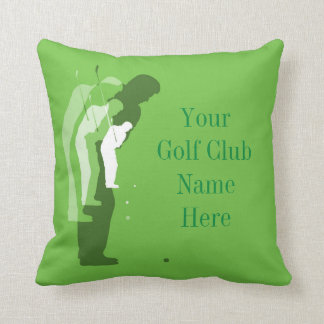 Personalised Golf Clubhouse Green Throw Pillow