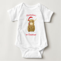 Personalised Hamish Highland Cow In The Snow Baby Bodysuit