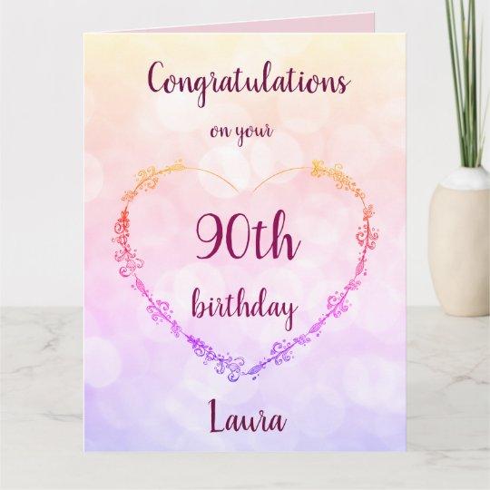 Personalised Happy 90th Birthday Card