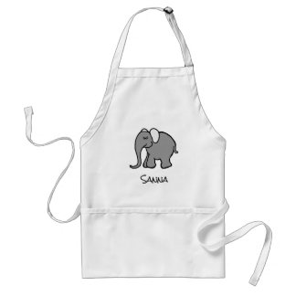 Personalised Happy Grey Cartoon Elephant Adult Apron