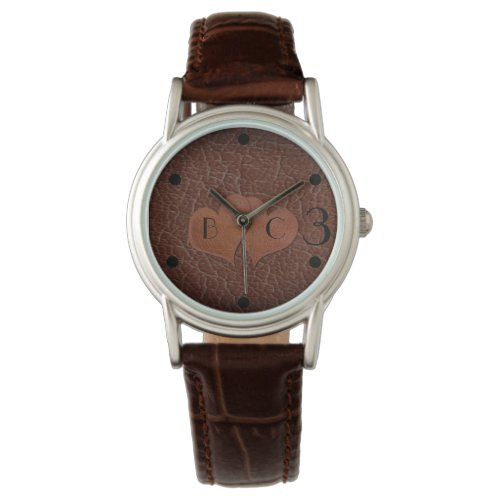Personalised Hearts Leather 3rd Anniversary Gift Watch