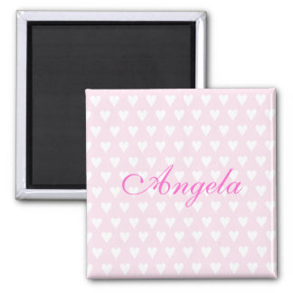 Personalised initial A girls name hearts magnet