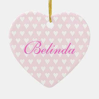 Personalised initial B girls name hearts ornament