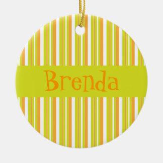 Personalised initial B girls name stripes ornament
