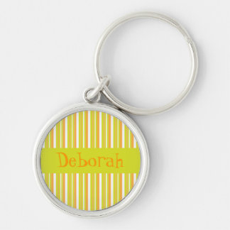 Personalised initial D girls name stripes keychain