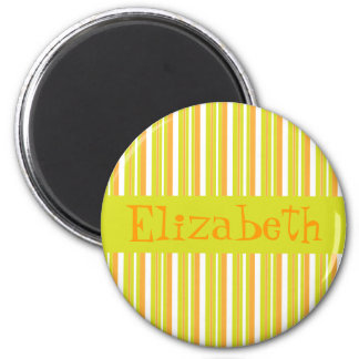 Personalised initial E girls name stripes magnet