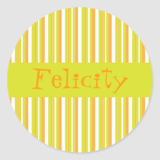 Personalised initial F girls name stripes stickers
