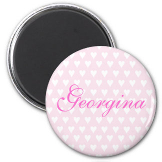 Personalised initial G girls name hearts magnet