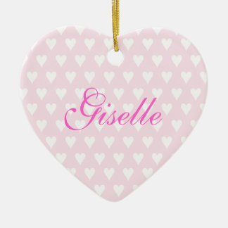 Personalised initial G girls name hearts ornament