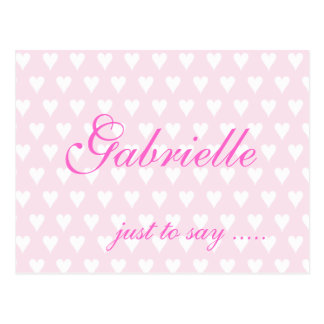 Personalised initial G girls name hearts postcard