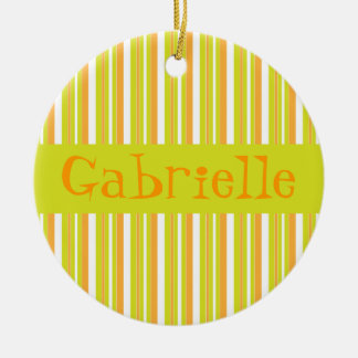 Personalised initial G girls name stripes ornament