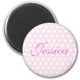 Personalised initial J girls name hearts magnet