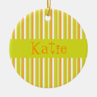 Personalised initial K girls name stripes ornament
