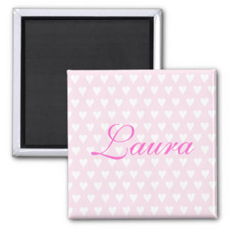 Personalised initial L girls name hearts magnet