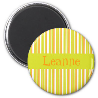 Personalised initial L girls name stripes magnet