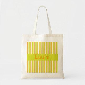 Personalised initial L girls name stripes tote bag