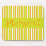 Personalised initial M girls name stripes mousepad