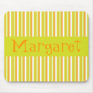 Personalised initial M girls name stripes mousepad