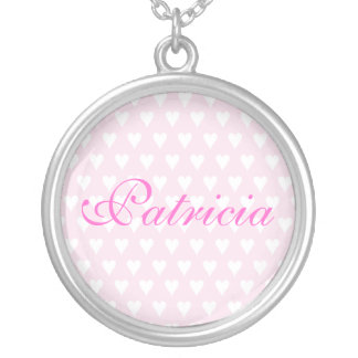 Personalised initial P girls name hearts necklace