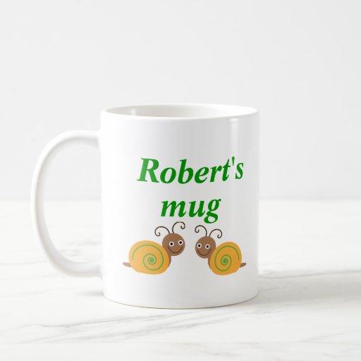Personalised initial R and name fun snail kids mug