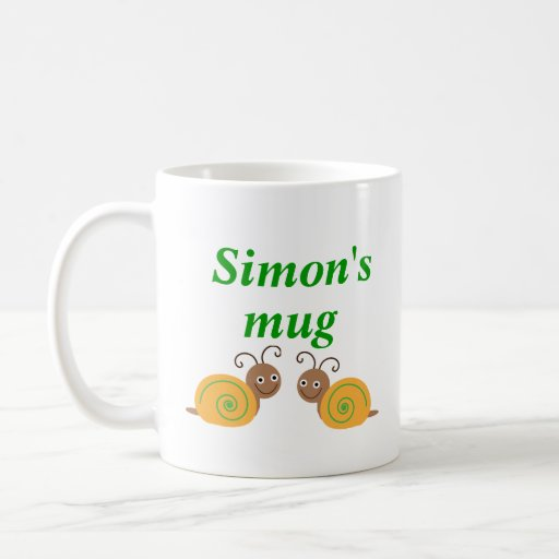 Personalised initial S and name fun snail kids mug