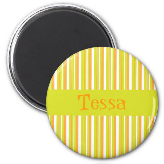 Personalised initial T girls name stripes magnet