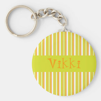 Personalised initial V girls name stripes keychain