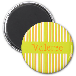 Personalised initial V girls name stripes magnet