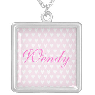 Personalised initial W girls name hearts necklace