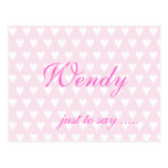 Personalised initial W girls name hearts postcard