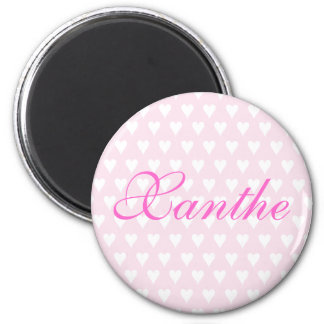 Personalised initial X girls name hearts magnet