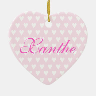 Personalised initial X girls name hearts ornament