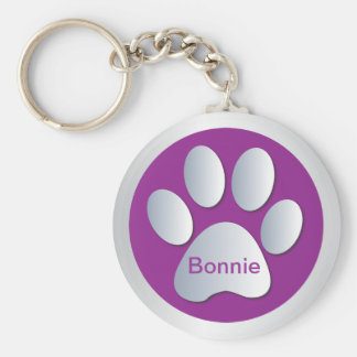 Personalised letter B dogs name tag paw print Basic Round Button Keychain