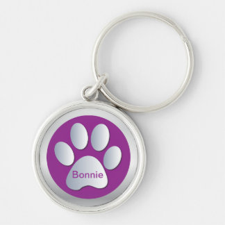Personalised letter B dogs name tag paw print Silver-Colored Round Keychain