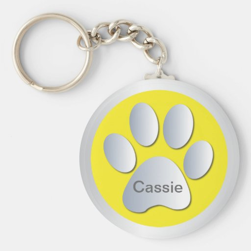 Personalised letter C dogs name tag paw print Key Chains