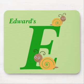 Personalised letter E and name fun snail mousepad