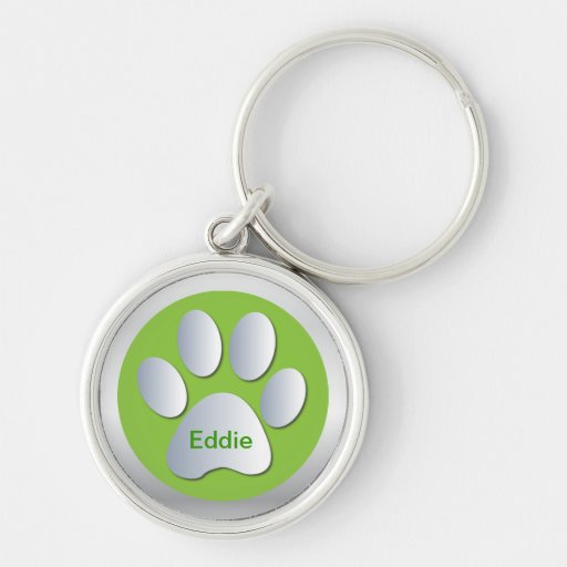Personalised letter E  dogs name tag paw print Key Chains