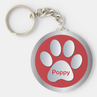 Personalised letter P dogs name tag paw print Keychain